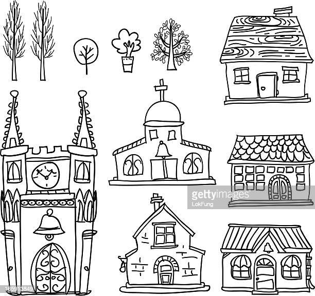 house collection in black and white - hut stock illustrations