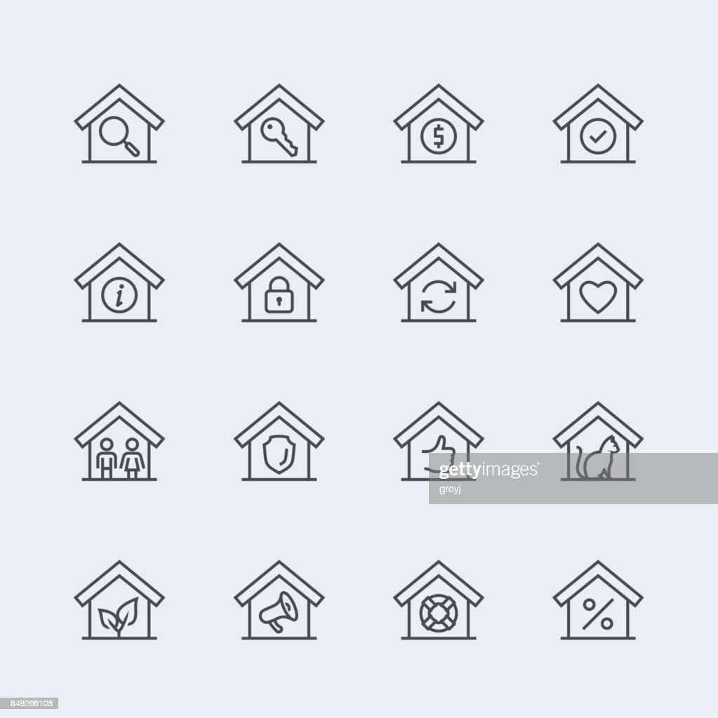 House conceptual vector icon set in thin line style
