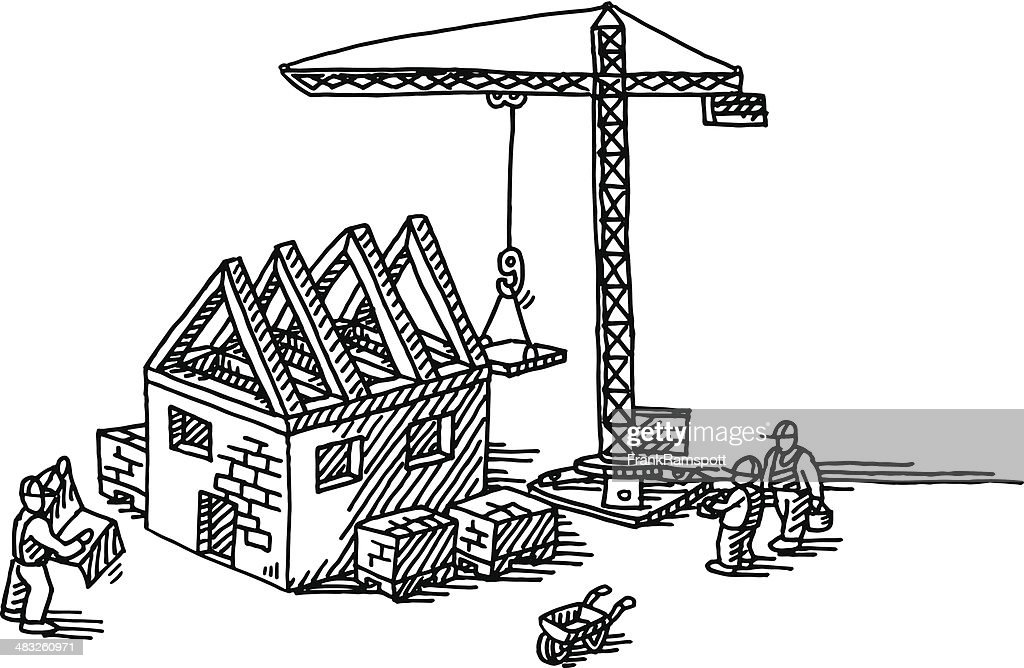 House construction site drawing vector art getty images for Free drawing sites