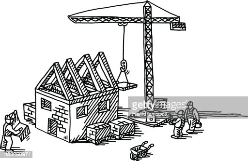 House construction site drawing vector art getty images for Drawing for house construction in india