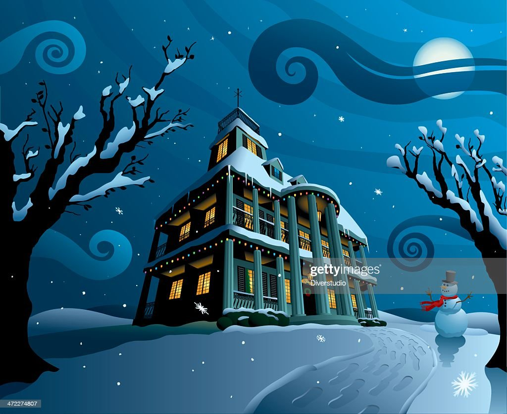House covered in snow and christmas lights with snowman vector art