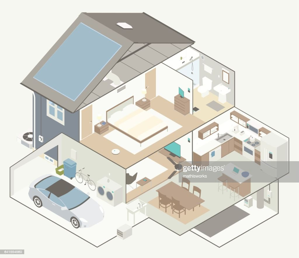 House Cutaway Diagram : Vector Art
