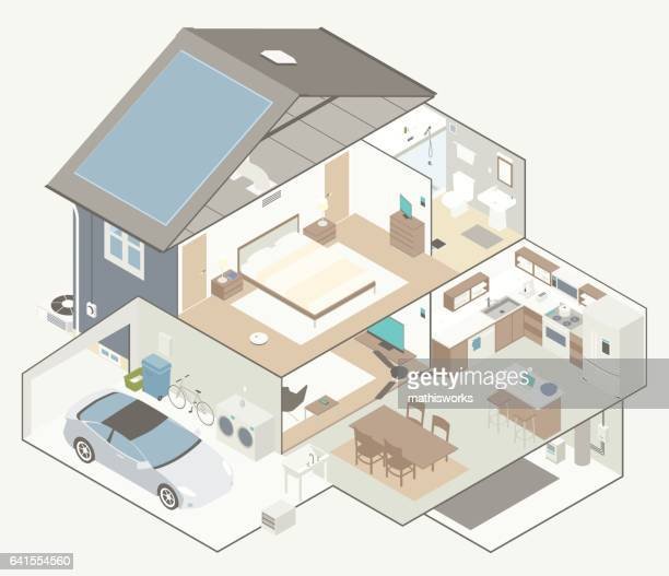 house cutaway diagram - mathisworks architecture stock illustrations