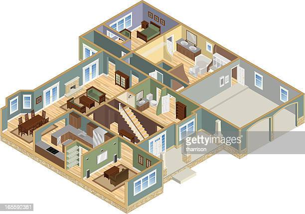 house cutaway floorplan - cutaway drawing stock illustrations