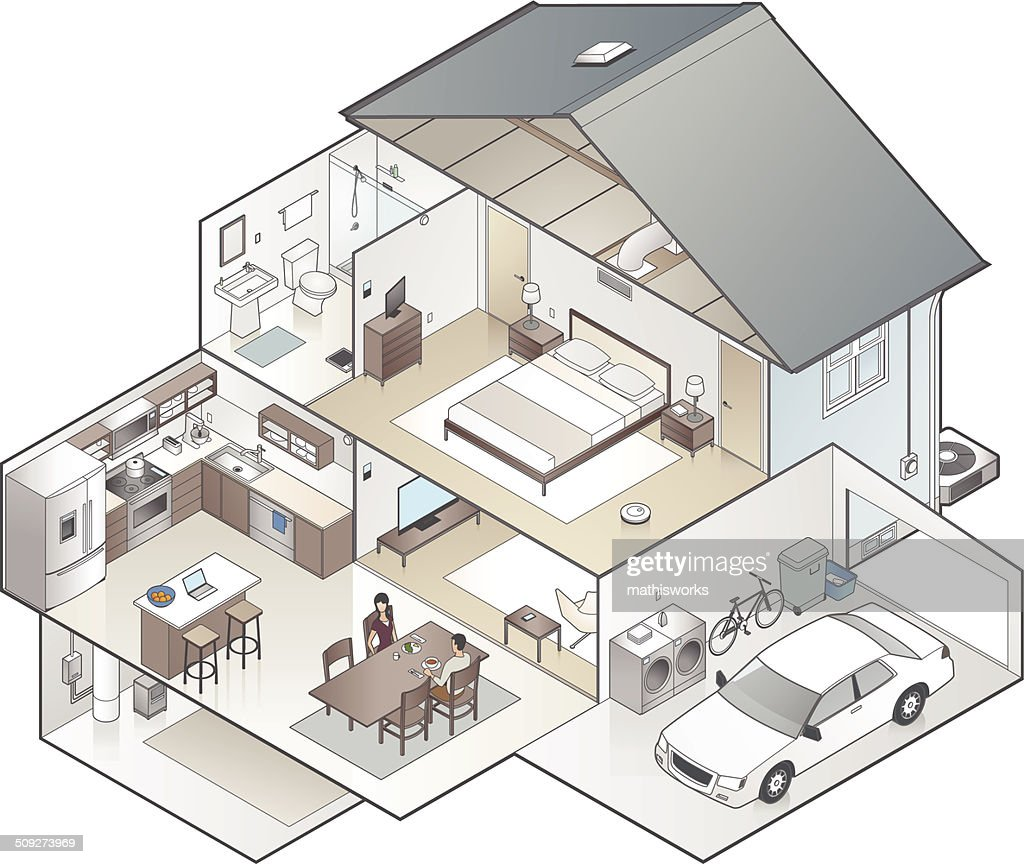 House Cutaway Illustration : Vector Art