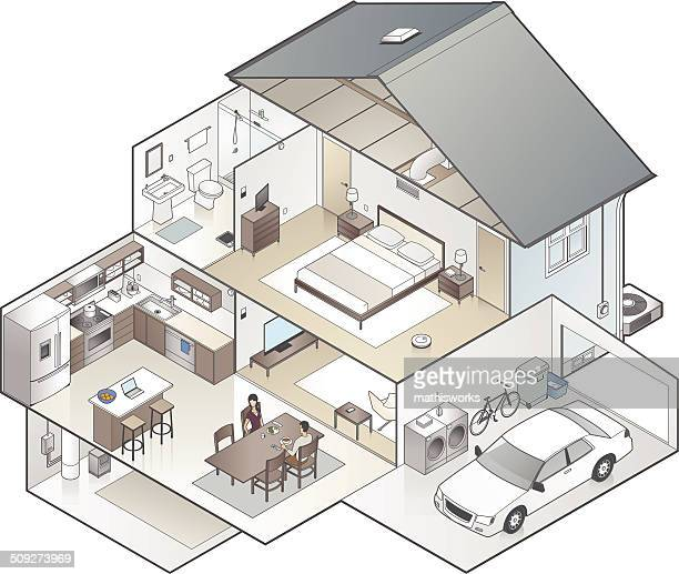 house cutaway illustration - domestic room stock illustrations, clip art, cartoons, & icons