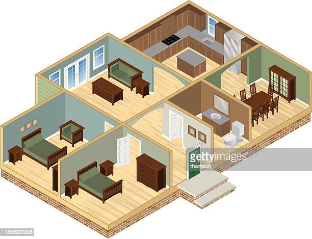 house cutaway - cutaway drawing stock illustrations