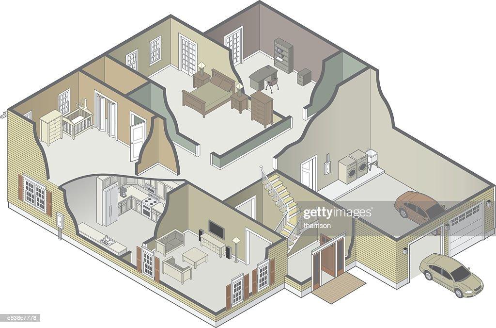 House Cutaway : stock illustration