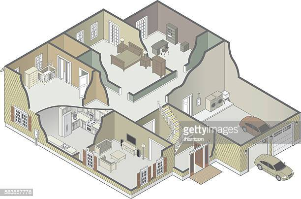 house cutaway - house interior stock illustrations, clip art, cartoons, & icons