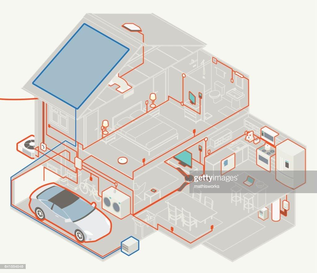 House Electrical Diagram : Vector Art