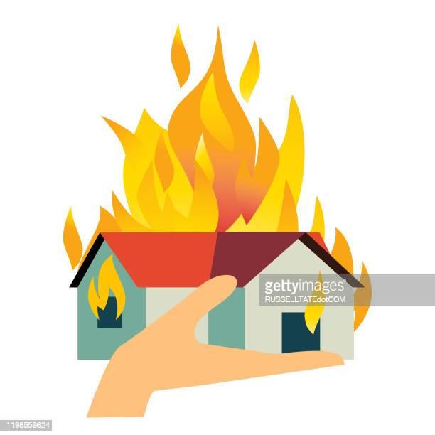 house fire - fire natural phenomenon stock illustrations
