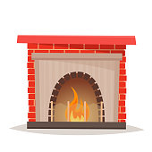 House fireplace on isolated background.