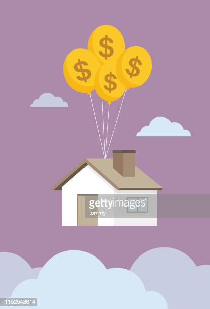 house float in the sky by balloon - human settlement stock illustrations