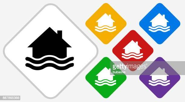 House Flooding Color Diamond Vector Icon