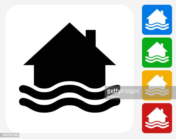 House Flooding Icon Flat Graphic Design