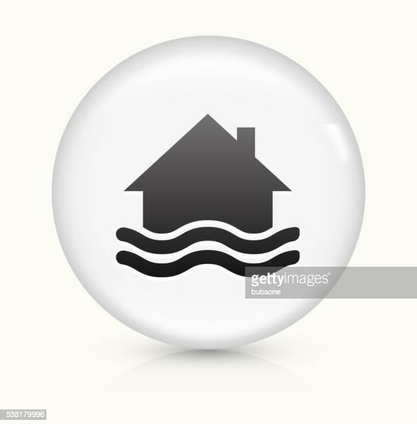 House Flooding icon on white round vector button