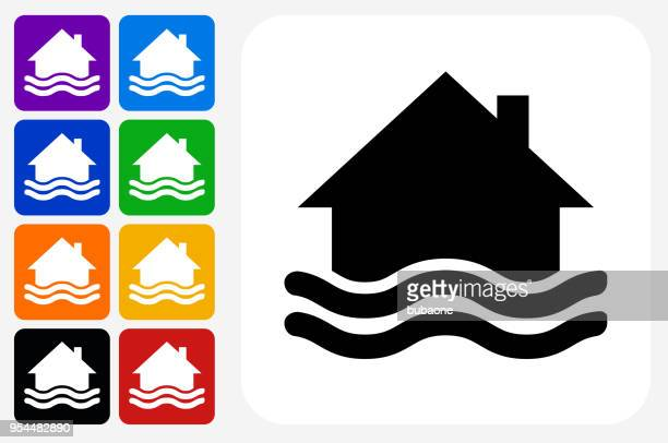 House Flooding Icon Square Button Set