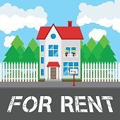 House for rent along the road. Part of the rural and urban landscape. Vector illustration in flat style.