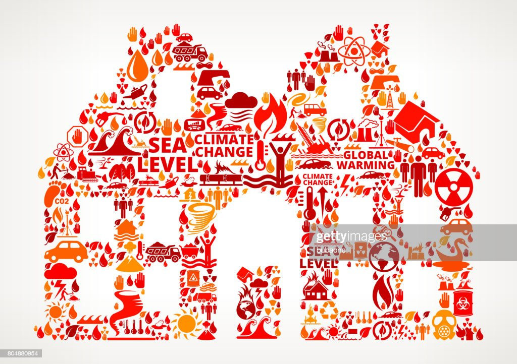 House Global Warming Climate Change Vector Pattern : stock illustration