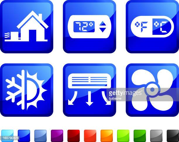 house heating and cooling system vector icon set stickers - electric heater stock illustrations, clip art, cartoons, & icons