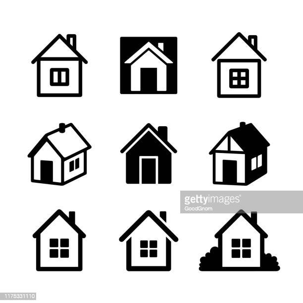 house icon collection - private property stock illustrations