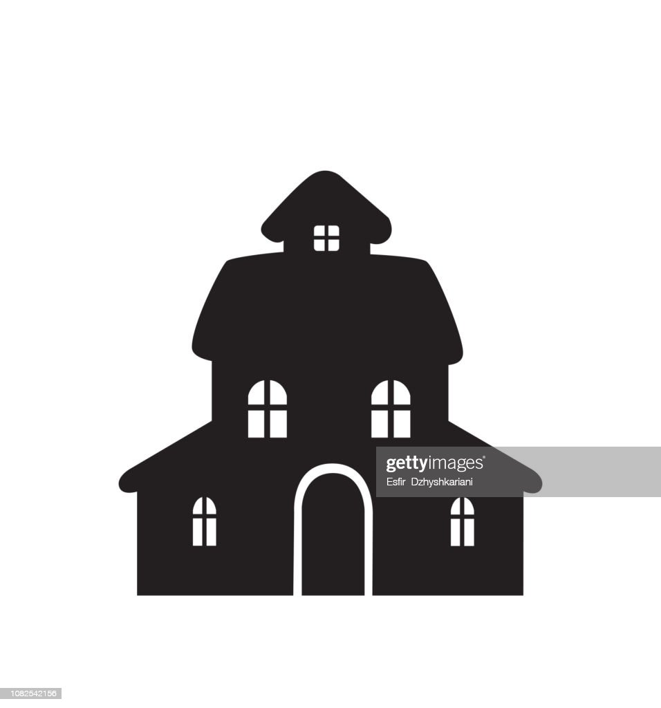 House icon flat cartoon vector illustration happy new year isolated on white