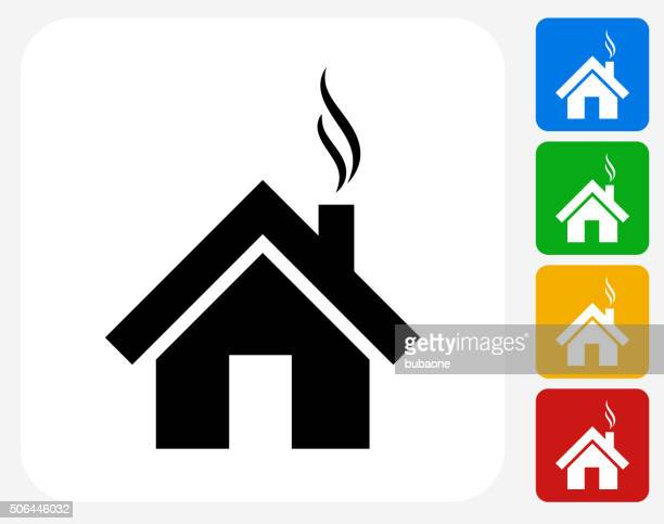 house icon flat graphic design - smoke physical structure stock illustrations, clip art, cartoons, & icons