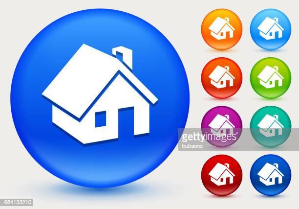 ilustraciones, imágenes clip art, dibujos animados e iconos de stock de casa icono de círculo brillante color botones - azul marino