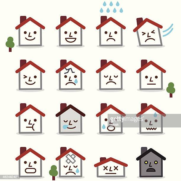 house icon set - loft apartment stock illustrations, clip art, cartoons, & icons