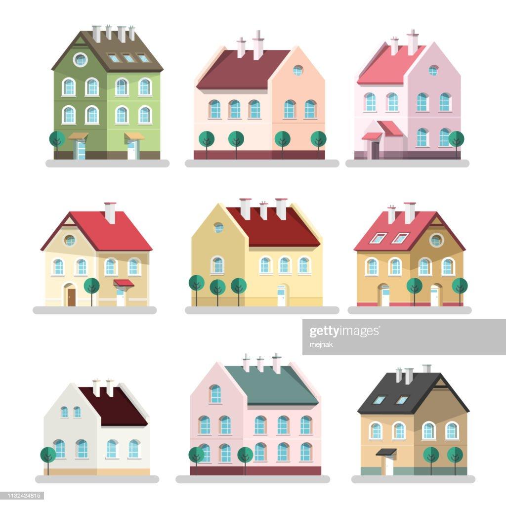 House Icon. Vector Houses Symbols. Building Flat Design Symbol.