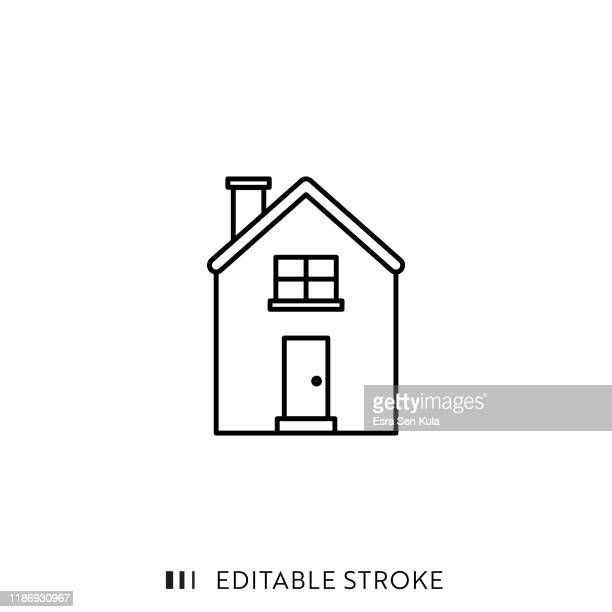 illustrazioni stock, clip art, cartoni animati e icone di tendenza di icona della casa con tratto modificabile e pixel perfetto. - casa