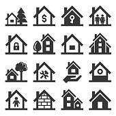 House Icons Set on White Background. Vector