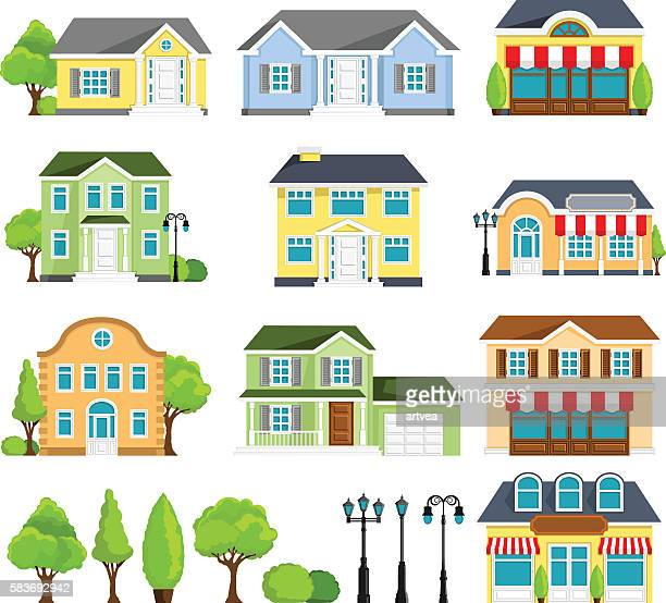 house icons - house exterior stock illustrations, clip art, cartoons, & icons