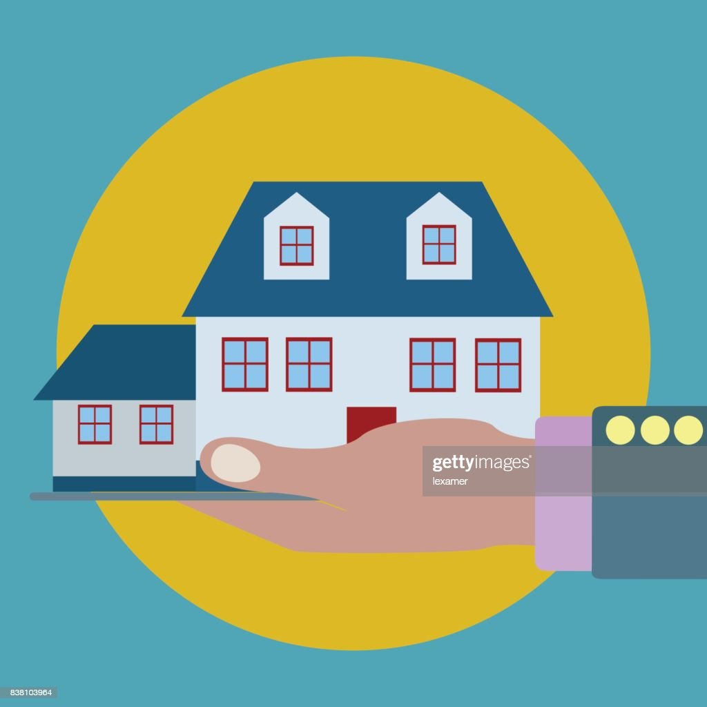 House in a palm of a hand, property, insurance vector concept