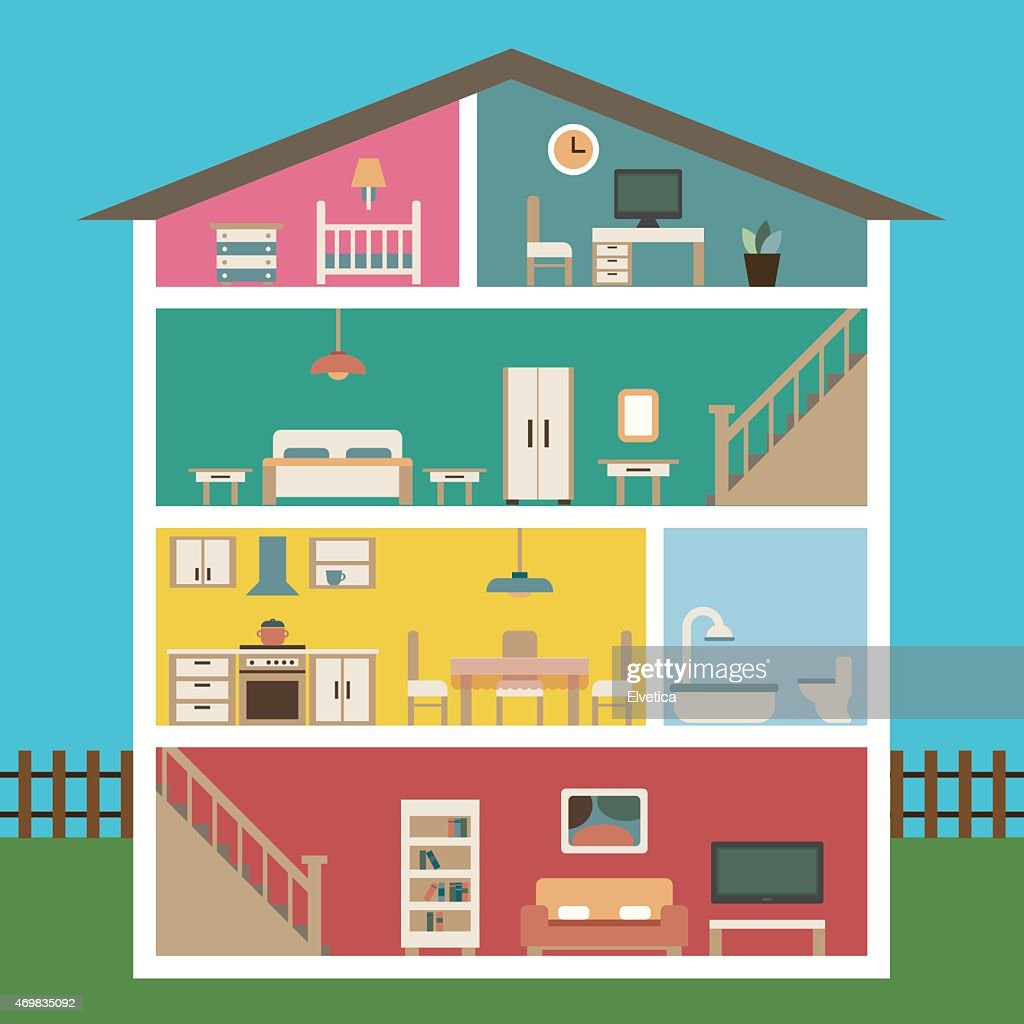 House in cut flat illustration