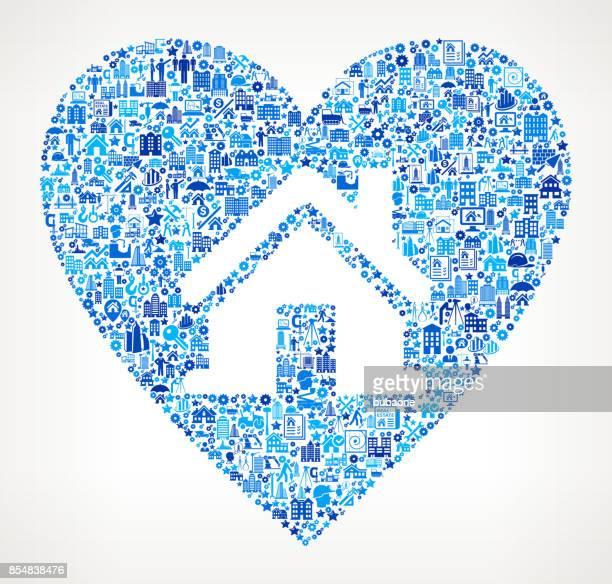 Huis in hart bouw industrie Vector Icon patroon