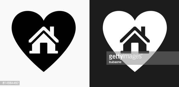 Huis in hart pictogram op zwart-wit Vector achtergronden