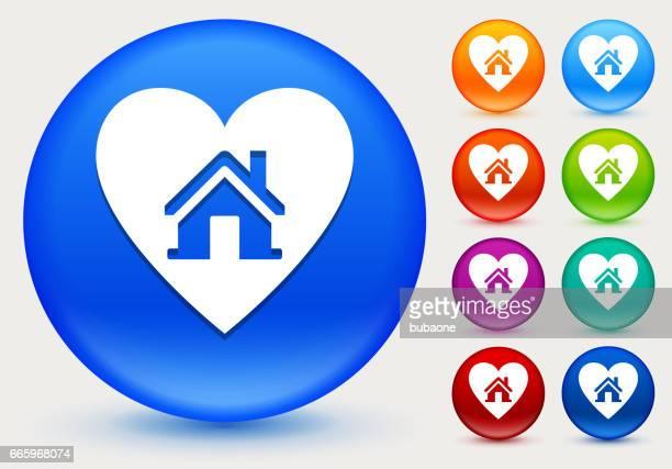 Huis in hart pictogram glanzende kleur Circle knopen