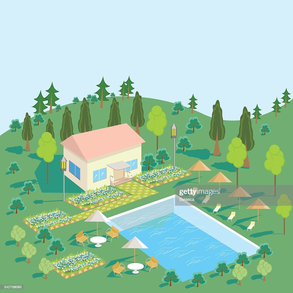 House in nature with pool, trees, Seating area