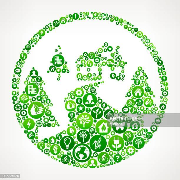 House In the Woods Nature and Environmental Conservation Icon Pattern