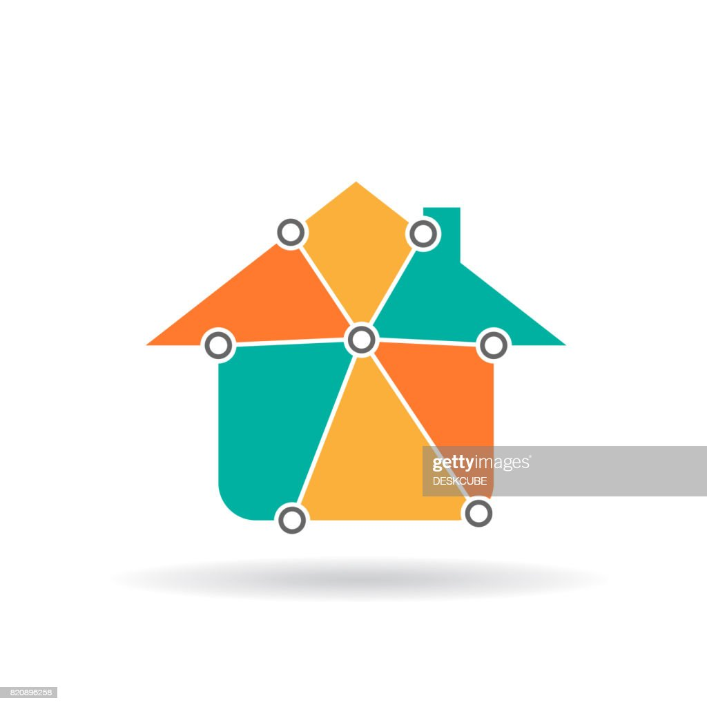 House in triangle parts Vector icon