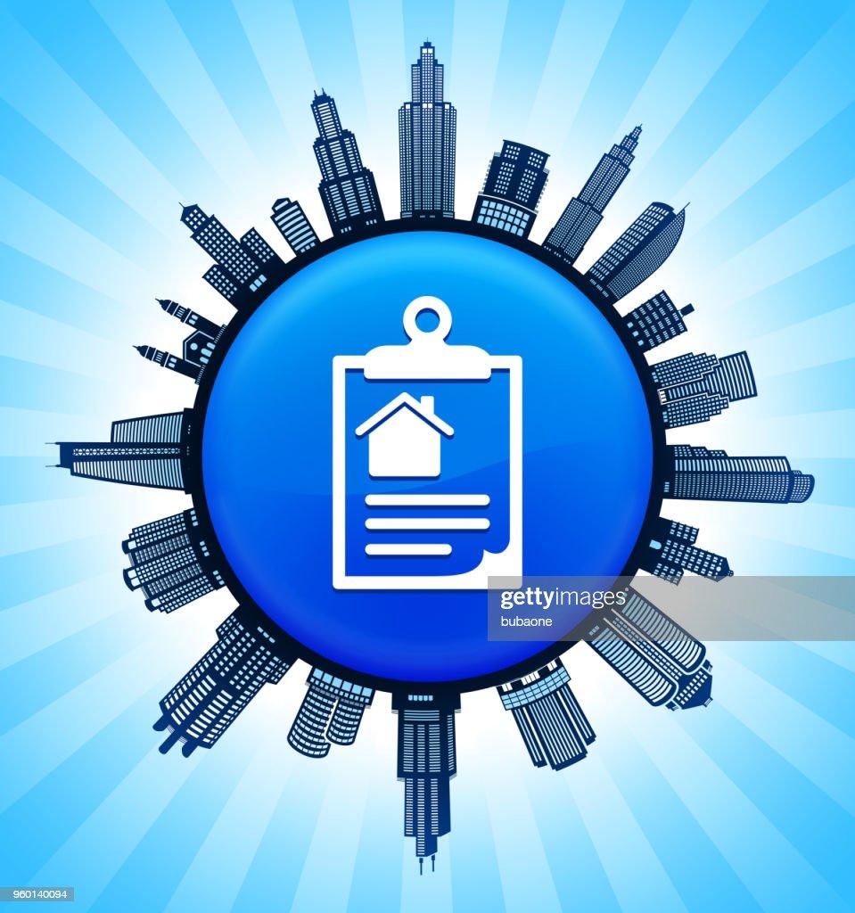 Haus Informationen über Zwischenablage auf modernen Stadtbild Skyline Hintergrund : Stock-Illustration