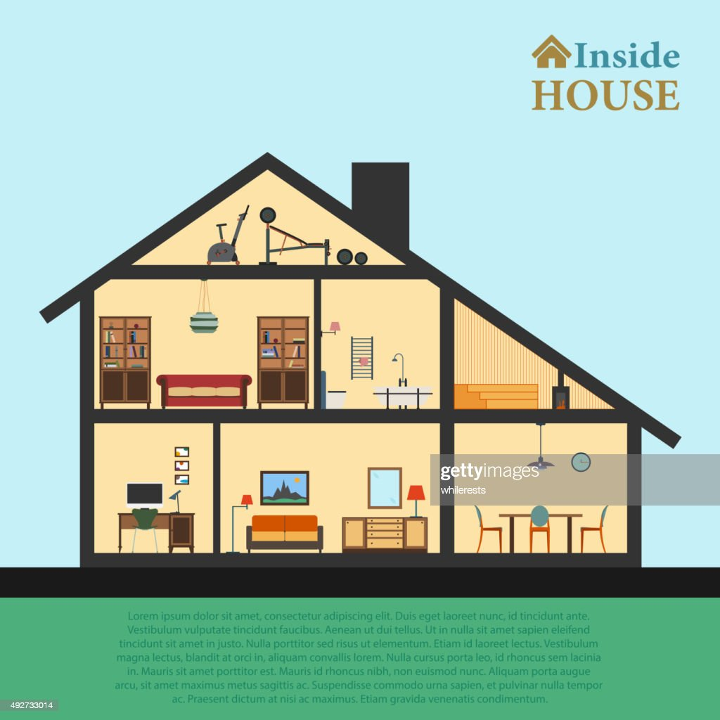 House inside. Detailed modern house interior in cut. Flat style