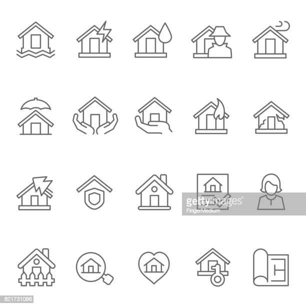 House insurance icon set