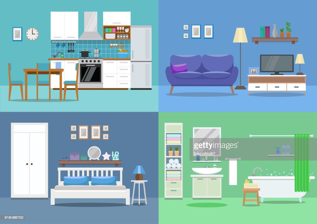 House interior, kitchen, living room, bedroom, bathroom. Flat style, vector illustration design template