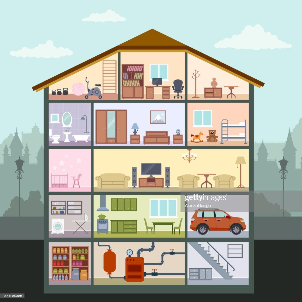 House Interior : stock illustration