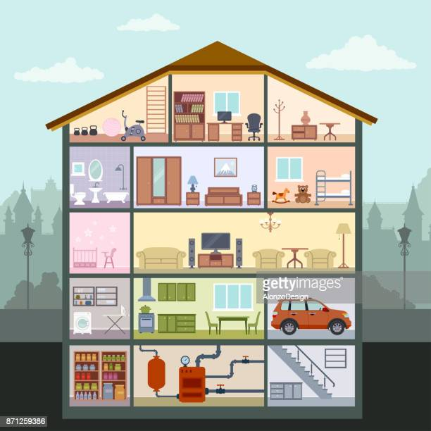 house interior - cross section stock illustrations