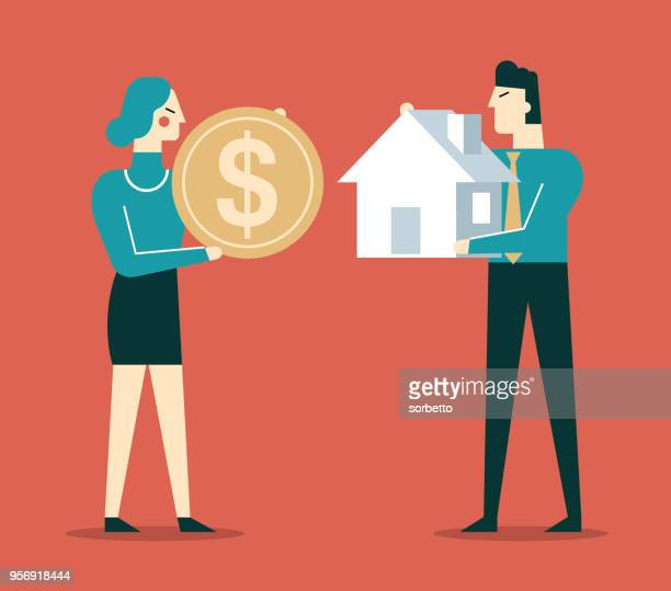 house investment - businessman and businesswoman - selling stock illustrations