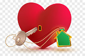 House is key to heart of your beloved. Red heart shape lock and key with key ring home