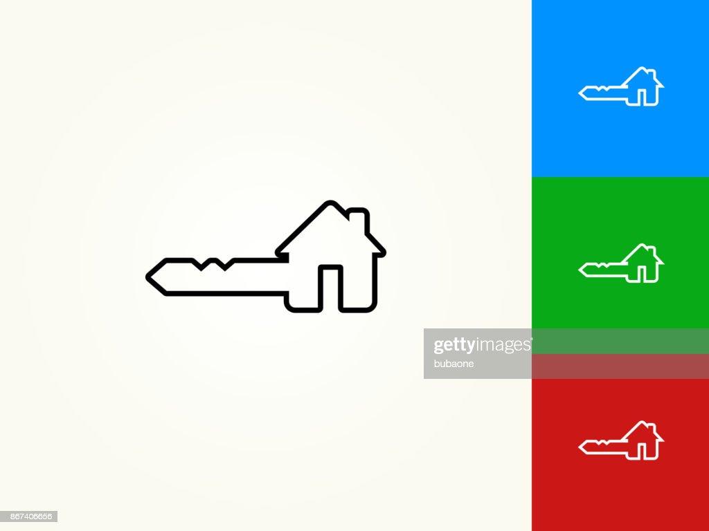 black house key. House Key Black Stroke Linear Icon : Vector Art